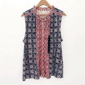 Lucky Brand Boho Sleeveless Ruffled Top NWT